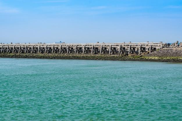 View of wooden bridge upon river