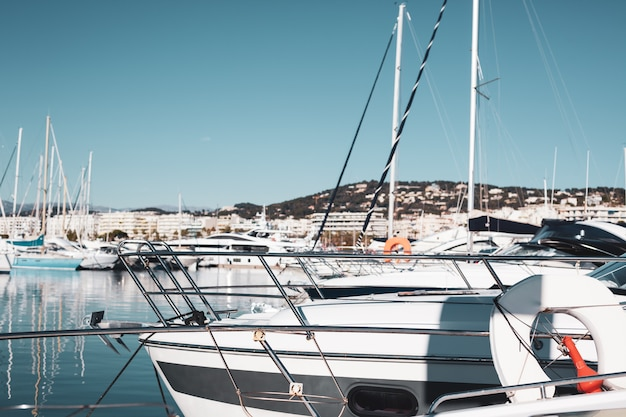 View of yachts in marina of cannes, france