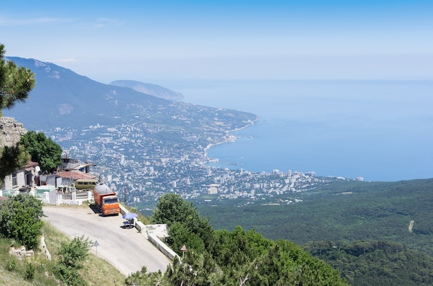 View of yalta and the black sea from mount aipetri