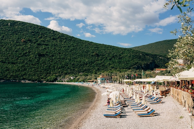 View of the zanjice beach on the lustica peninsula in montenegro against the backdrop of green