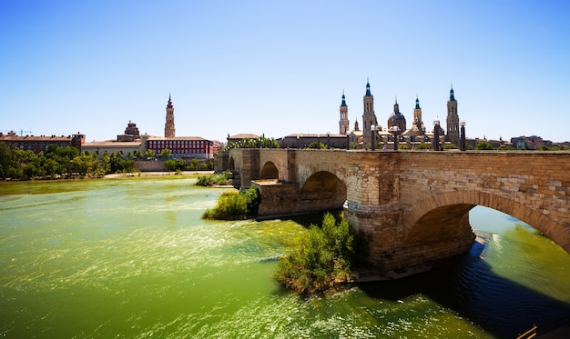 View of zaragoza. stone bridge and cathedral