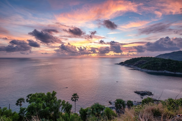 Viewpoint landscape colorful laem promthep cape at sunset