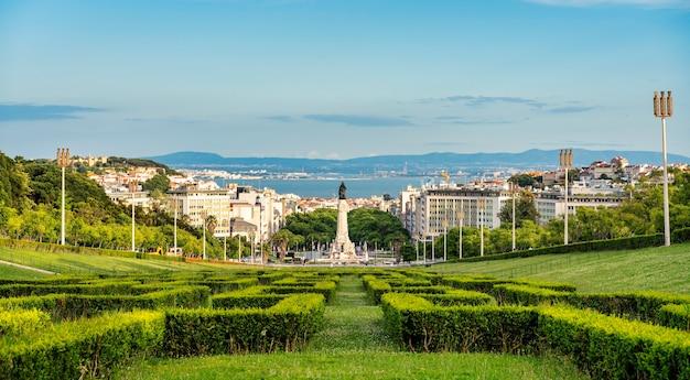 ポルトガル、リスボンのエドゥアルド7世公園の視点