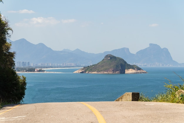 Viewpoint of small beach on the west side of rio de janeiro in brazil.