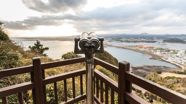 Viewpoint with telescope seongsan llchulbong korea