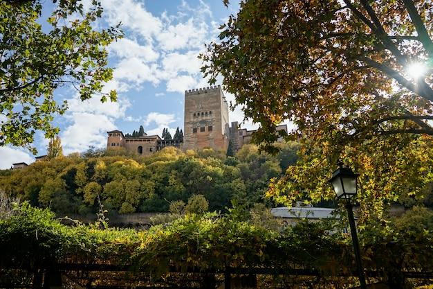 Views of the alhambra in granada from the albaicãn neighborhood
