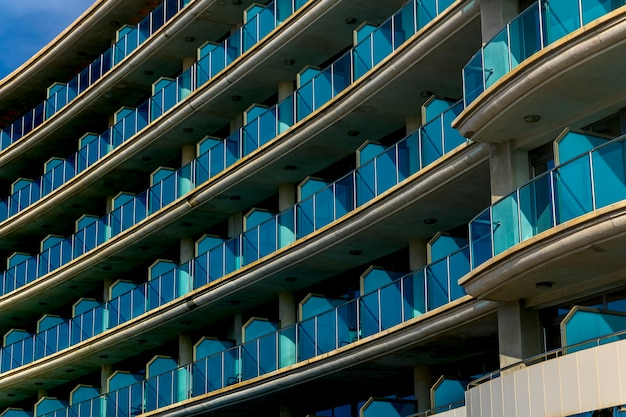 Views of the balconies in tourist apartments on the beach of villajoyosa, alicante, spain.