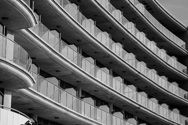 Views of the balconies in tourist apartments on the beach of villajoyosa in black and white.
