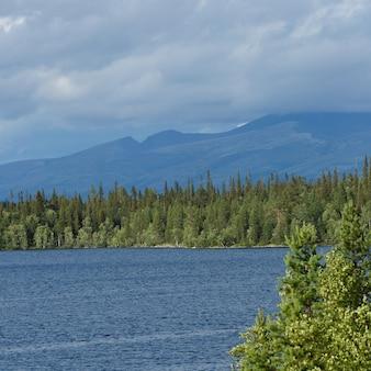 Views of the khibiny mountains. photographed on lake imandra, kola peninsula, russia