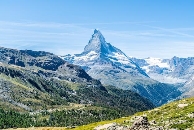 Views of the matterhorn peak in zermatt, switzerland.