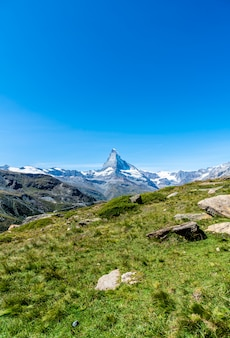 Views of the matterhorn peak in zermatt, switzerland.