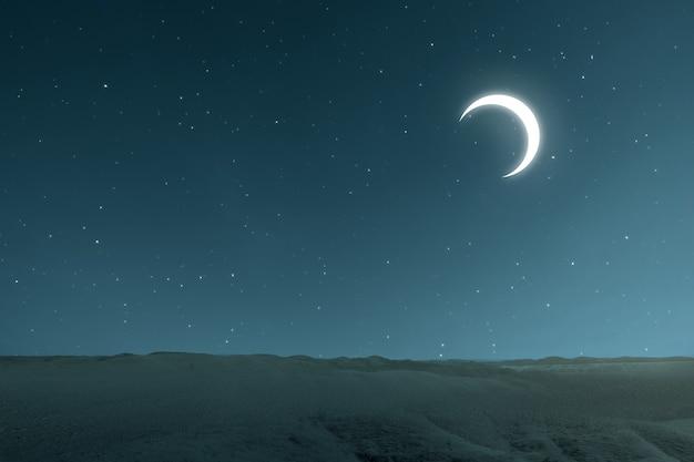 밤 장면을 배경으로 모래 언덕의 전망