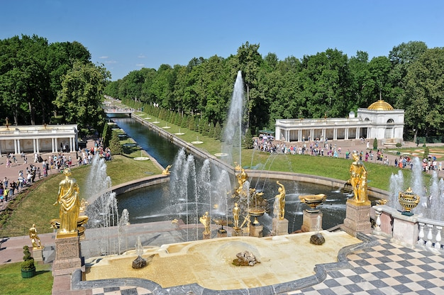 Views of the sea channel and the cascade of fountains in peterhof, russia