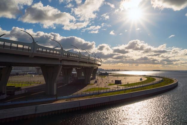 Views of the western high-speed diameter and the metro station novorostovskaya