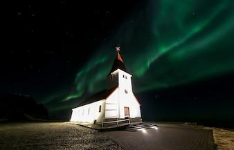 Vik Church Aurora Iceland