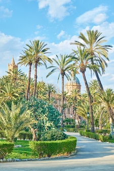 높은 야자수와 palermo cathederal이 배경에 있는 villa bonanno 공공 정원, 팔레르모, 시칠리아, 이탈리아