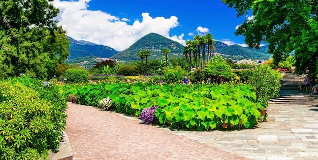 Вилла таранто с красивыми садами. лаго маджоре, север италии