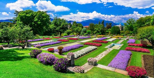 Вилла таранто с красивыми садами. озеро лаго-маджоре, север италии