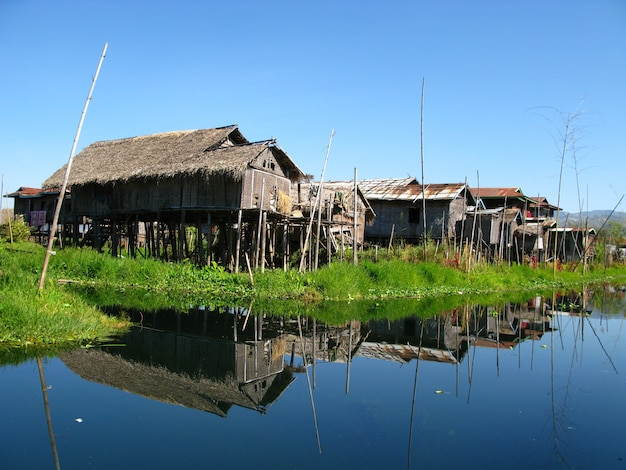 The village on the coast of inle lake, myanmar