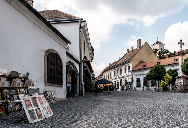 Village eastern europe painting square cross