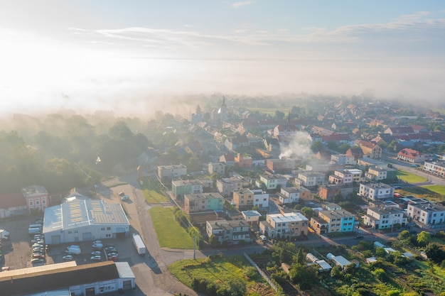 Village from a height, blue sky and small private houses, poland