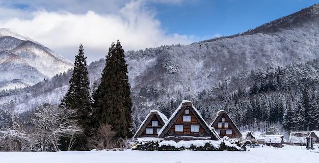 雪の降る冬の村