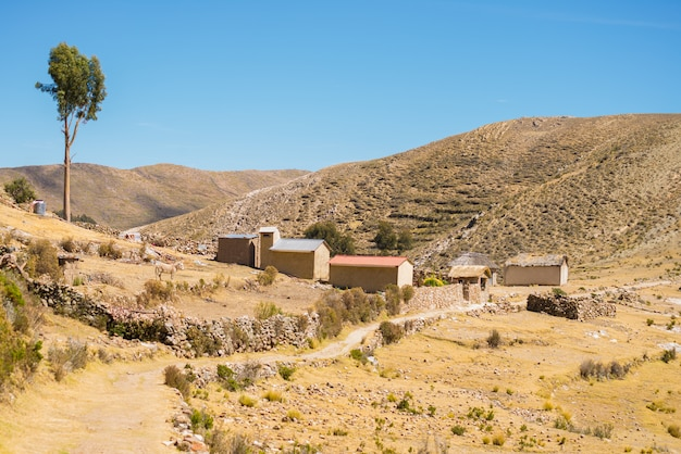 Village on the island of the sun, titicaca lake, bolivia