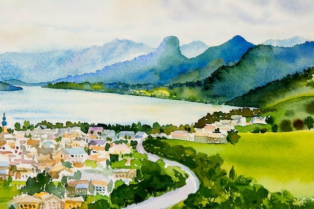 村、日の出のヴォルフガンゼー湖、オーストリアの有名なランドマーク。水彩画の風景。