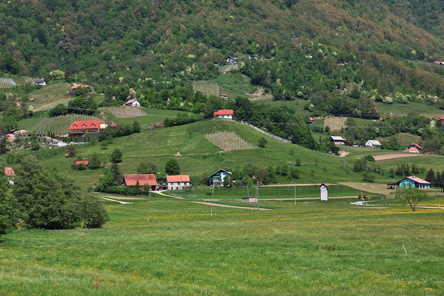 The village in mountains of slovenia