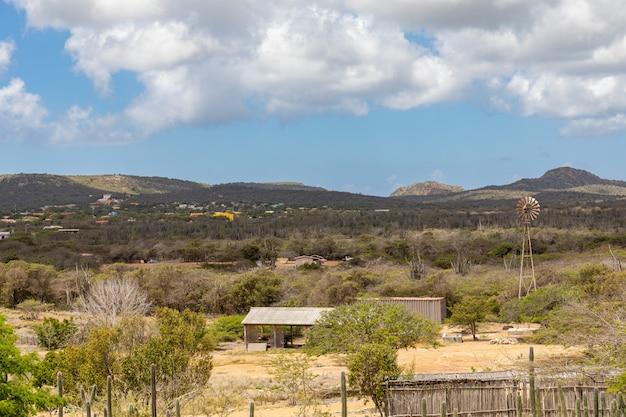 カリブ海のボネール島の曇り空の下で緑の風景に囲まれた村