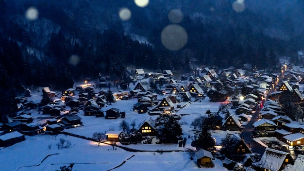 Village in winter with snow
