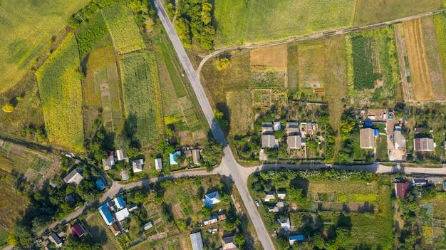 Village with a bird's eye view. gardening.