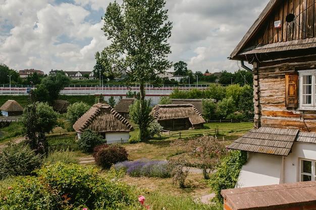 짚으로 지붕이있는 오래된 집들이있는 마을
