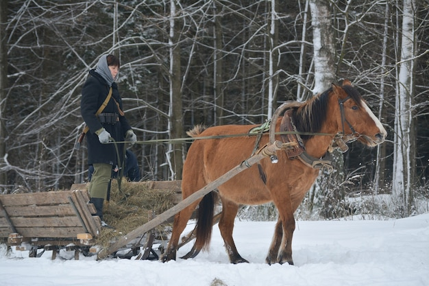 村の女性が冬の森でそりを運転します。
