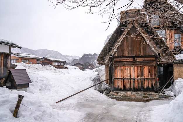 Villages of shirakawago and gokayama are one of japan's unesco world heritage sites. farm house in the village and mountain behind.