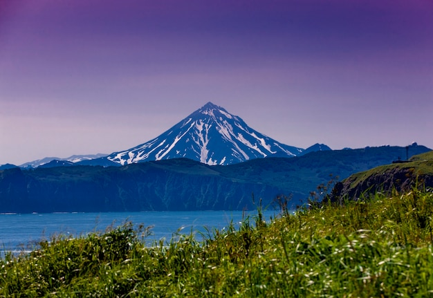 The vilyuchinsky volcano in kamchatka stock photo