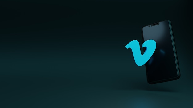Приложение с логотипом vimeo с шаблоном 3d-рендеринга дисплея смартфона
