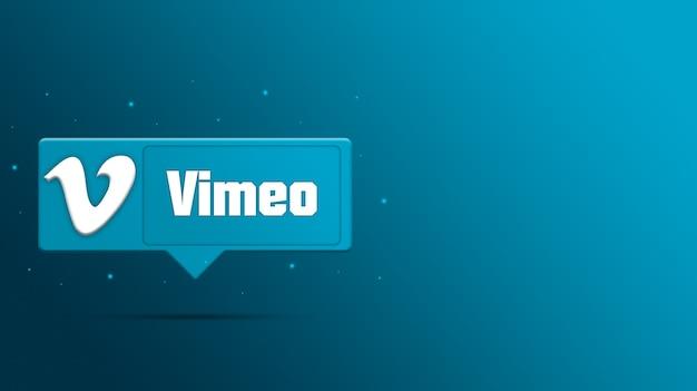 연설 거품 3d 렌더링에 vimeo 로고