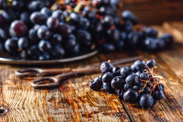 Виноградный виноград и ржавые ножницы