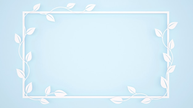 Vine leaves and white frame on light blue background