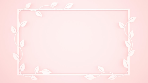 Vine leaves and white frame on light pink background
