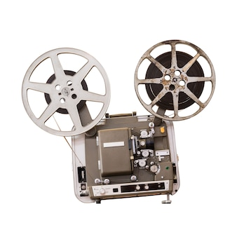 Vintage 8 mm movie projector isolated on white