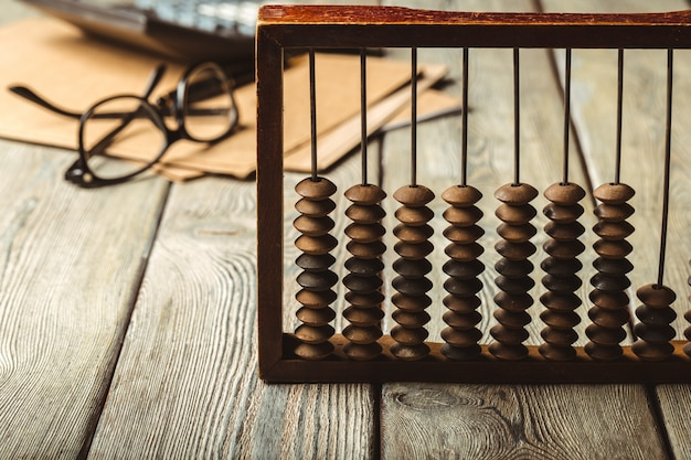 Vintage abacus and calculator