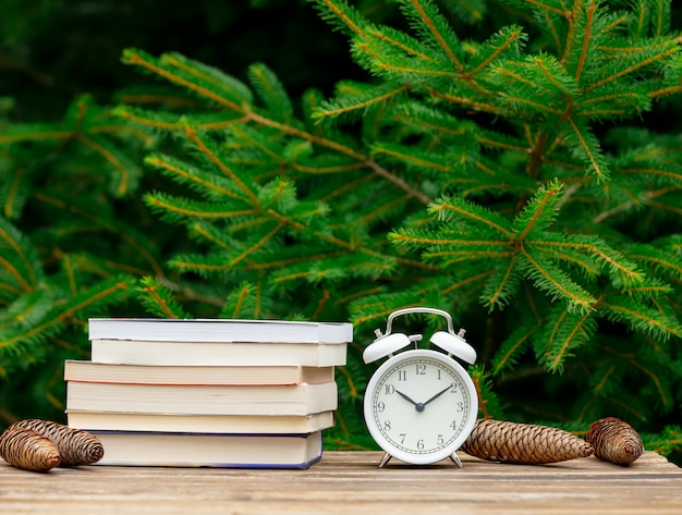 Vintage alarm clock and books on wooden table with spruce branches on background