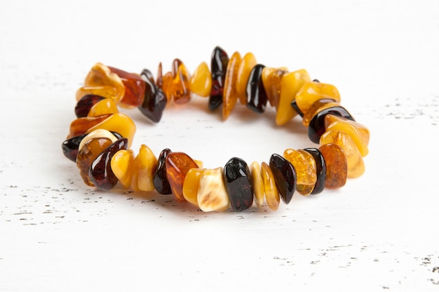 Vintage amber bracelet on white