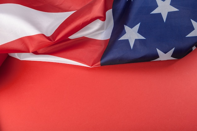 Vintage american flag with red background