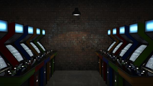 Vintage arcade game machine 3d rendering
