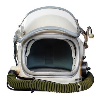 빈티지 우주 비행사 헬멧 흰색 배경에 대해 격리입니다.