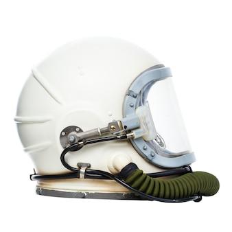 빈티지 우주 비행사 헬멧 흰색 배경에 고립입니다.