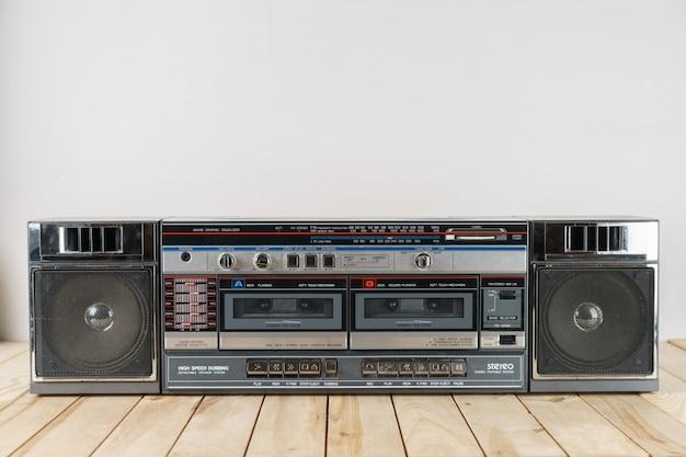 Vintage audio cassette tape deck ghettoblaster